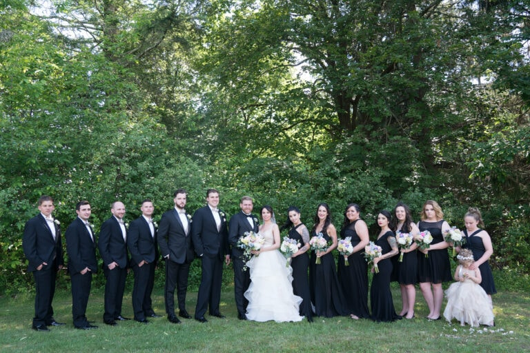 Bride and Groom pose with Wedding Party at a Mountain View Manor Wedding in Glen Spey