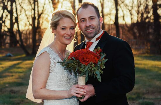 Bride and Groom pose with bouquet before a Hudson Valley Wedding at Locust Grove