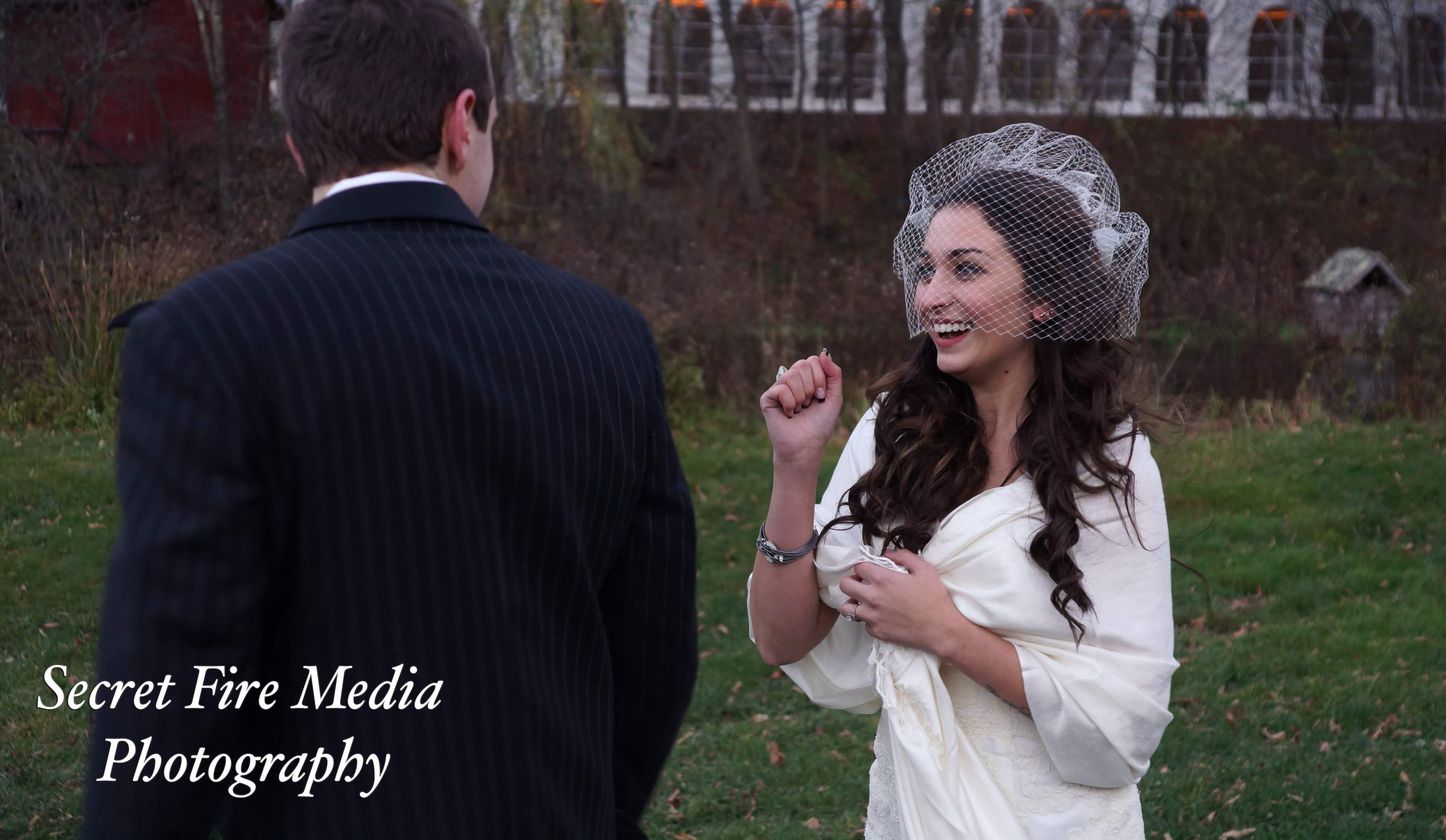 Bride and Groom at first look at a Hudson Valley Halloween wedding at Full Moon Resort