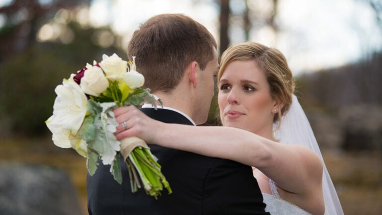 Bride looks into grooms eyes at a Hudson Valley Wedding for Thayer Hotel Wedding Photos