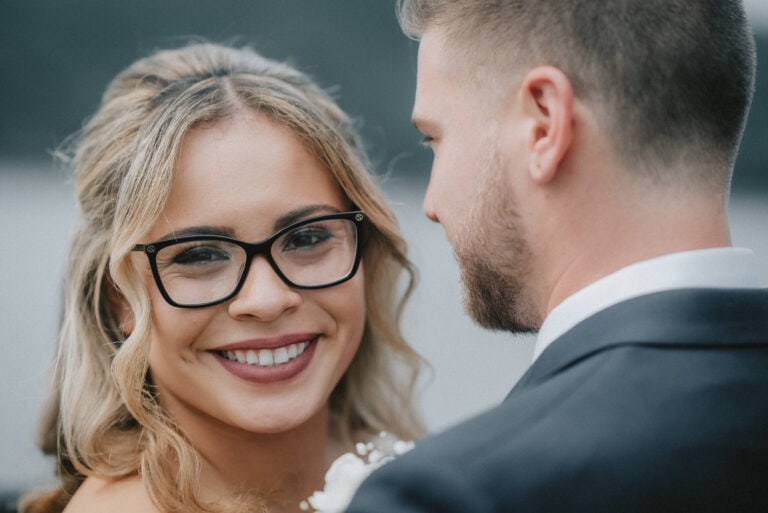 Bride smiles for photo at a Hudson Valley Wedding at The Grandview in Poughkeepsie