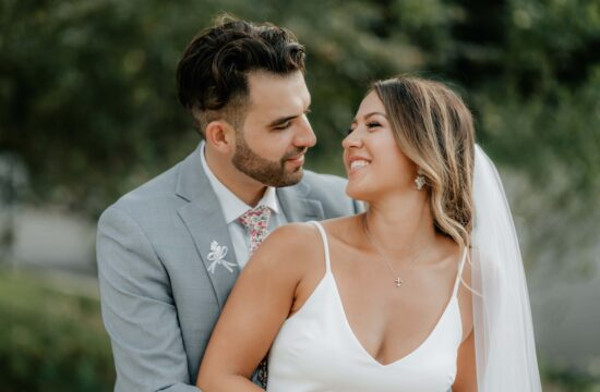 Bride and Groom look into each others eyes at a Hudson Valley Minimony at a Greek Orthodox Church