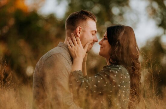 Bride holds Groom at Sunset at Long Dock Park Engagement Photography in the Hudson Valley